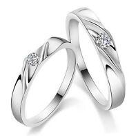 Coppia di anelli fedine fidanzamento in Argento 925 e zircone N961