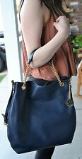 NWT Michael Kors Jet Set Chain Large Navy Pebble Leather Shoulder Tote $298