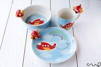 Ceramic Red Aeroplane Bowl Mug Plate 3 Piece Set Ceramic Breakfast Set Kids