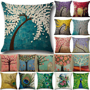 3D Art Flower Tree Linen Pillow Case Sofa Bed Waist Throw Cushion Cover Decor Y