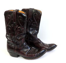 Lucchese Mens Western Boots 9 1/2 2E Handmade Oxblood Leather Rockabilly Cowboy