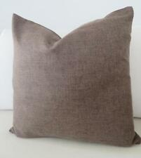 Choc Brown Solid Colour Linen Look Double Sided Cushion Cover 45cm