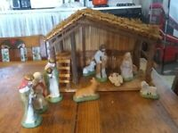 Vintage Sears 11 Piece Nativity Set + Stable w/Original Box