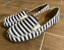AEROSOLES SO SOFT Casual Canvas Loafer Shoes Navy Gold Stripes Womens Sz 8 New