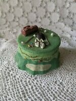 Hand Painted Green Golf Balls Clubs Tee Putter Trinket Box