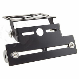 Adjust Fender Eliminator Black Universal Motorcycle Tail License Plate Bracket
