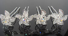 20Pcs Wedding Bridal White Flower Crystal Hair Pin For Women Silver Plated