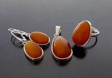 925 Silber Set Anhänger mit Ohrringe, Ring, Butterscotch Bernstein, NEU (SB701)