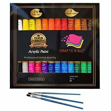 Acrylic Paint Set 24 Colors by Crafts 4 ALL Perfect For Canvas, Wood, Ceramic...