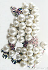 Pearl Dog Brooch French Poodle Pink Faux