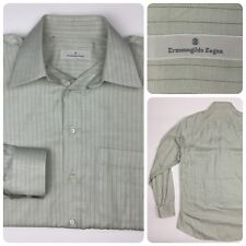Ermenegildo Zegna Men's Couture Dress Shirt Beige Striped Size 39 15 1/2 Spain
