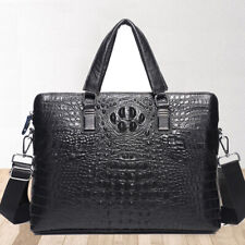 "Genuine Leather Men's Black Crocodile Business Briefcase 14"" Laptop Bag Handbags"