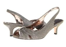 J. Renee Slader Iridescent Sling Back Pumps, Wedding, Church, Shiny, Pewter, 9 W