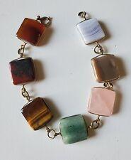 Bracelet Polished Square Various Gems Agate Tiger's Eye & More 8 Inch