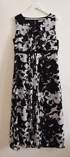 Planet Black and White Pattern Front Plisse Maxi Casual Occasion Dress Size 14
