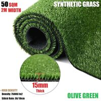 50SQM Synthetic Grass Artificial Grass Turf Plastic Fake Plant Lawn -15mm Olive