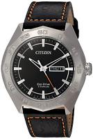Citizen Eco-Drive Men's Titanium Case Black Leather Strap 44mm Watch AW0060-03E