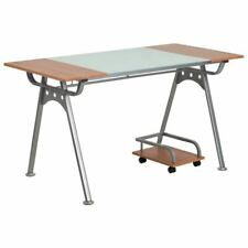 Durable Home Office Computer Desk Withglass Amp Cherry Laminate Top