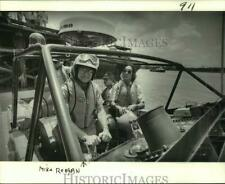 """1982 Press Photo Boat racer Michael Reagan at helm of his """"Scarab"""" on the River"""