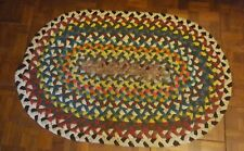 "VINTAGE HANDMADE OVAL BRAIDED RUG  24.75"" X 37.5"" VERY CLEAN FABULOUS CONDITION"