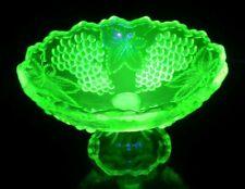 Lovely HTF Vtg Yellow Uranium Glass Grapes & Leaves Centerpiece Pedestal Bowl