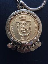 shield Coin Pendant Necklace Nettie Rosenstein Vintage Gold Italian