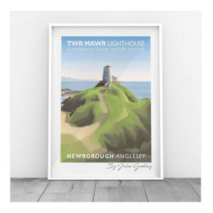 Original Illustrated print of Newborough Lighthouse Anglesey Sea Print Only