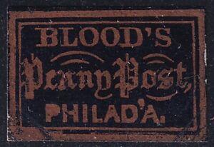 US STAMP BOB LOCAL #15L16 D. O. BLOOD & CO. DISPATCH 1C BRONZ BLACK GLAZED MH/NG