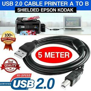 5M USB 2.0 Cable Type A to Type B For Scanner Printer PC Cord HP Epson Kodak