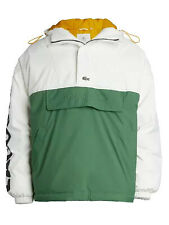 Lacoste Mens LIVE Colorblock Parka Jacket with Oversized Lacoste Sleeve Print