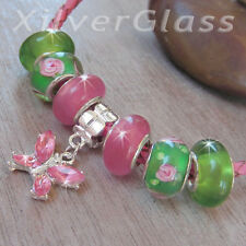 BEADS BRACELET GREEN PINK SILVER PLATED BUTTERFLY DANGLE CHARM - #048
