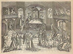A4094 Dance Of Patricians Germans - Incision - Print Antique Of 1889