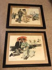 "1905 Howard Chandler Christy Pair Of Signed Colored Print Framed Art 18 X 22"""