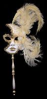 Maschera Di Venezia Per Bastone Piume Struzzo Giallo-Oro-Carnevale venitien-1367