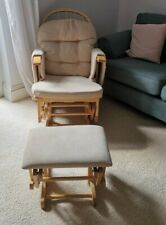 Nursing Glider Maternity Rocking Chair With Stool Beech Wood Frame MotherCare