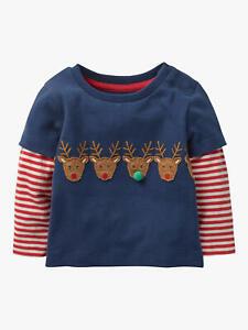 Baby Boden Festive Layered Breton Reindeer Long Sleeve Tshirt Top