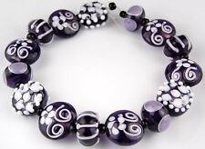 Lampwork Glass Beads Handmade White Purple Flower Loose Craft Rondelle Spacer