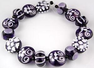 Lampwork Glass Beads Handmade White Purple Flower Loose Craft Rondelle Spacer