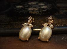 Vintage Crystal &  Pearl Drop Pierced Earrings