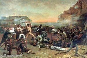 "Robert Jenkins Onderdonk Fall of the Alamo Oil Painting repro 30""x50''"