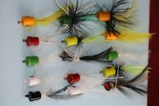 Vintage 15 Fishing Flies Poppers Bass Trout Lures Various Sizes