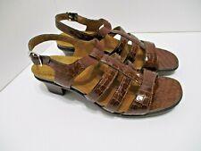 SAS Allegro Brown Croc Patent Leather Sandals Size 9N