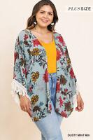 Clearance Sale: NWT Plus Size Umgee Mint Open Front Floral Cottagecore Kimono