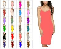 RSVH WBCSL Ladies Womens Sleeveless Stretch V-Neck Bodycon Plain Midi Maxi Dress