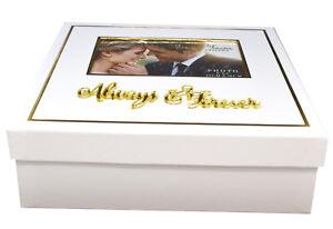 NEW White 3D Gold Always Forever Wedding Day Keepsake Memory Box Photo Lid Gift
