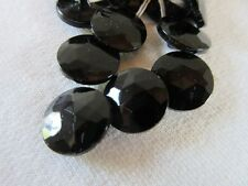 """18 Vintage Jet Black all Glass ROUND Faceted Czech Buttons Self Shank 1/2"""" 13mm"""