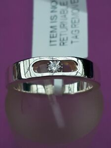 Sterling Silver Simulated Diamond Solitaire Ring Size P NWT Silver Wt 4.06g