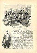 Addis-Abeba Tambour Empereur Menelik II Négus d'Éthiopie Abyssinie GRAVURE 1901