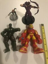 4 Piece Marvel Avengers Action Figure Lot Iron Man Hawkeye Black Widow Hulk Mix