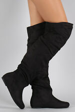 New Womens Vegan Suede Round Toe Slouchy Flat Casual Over The Knee Boots Pull On